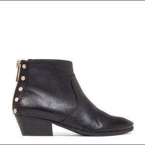 Vince Camuto- Cinza Black Leather Moto Bootie Boot